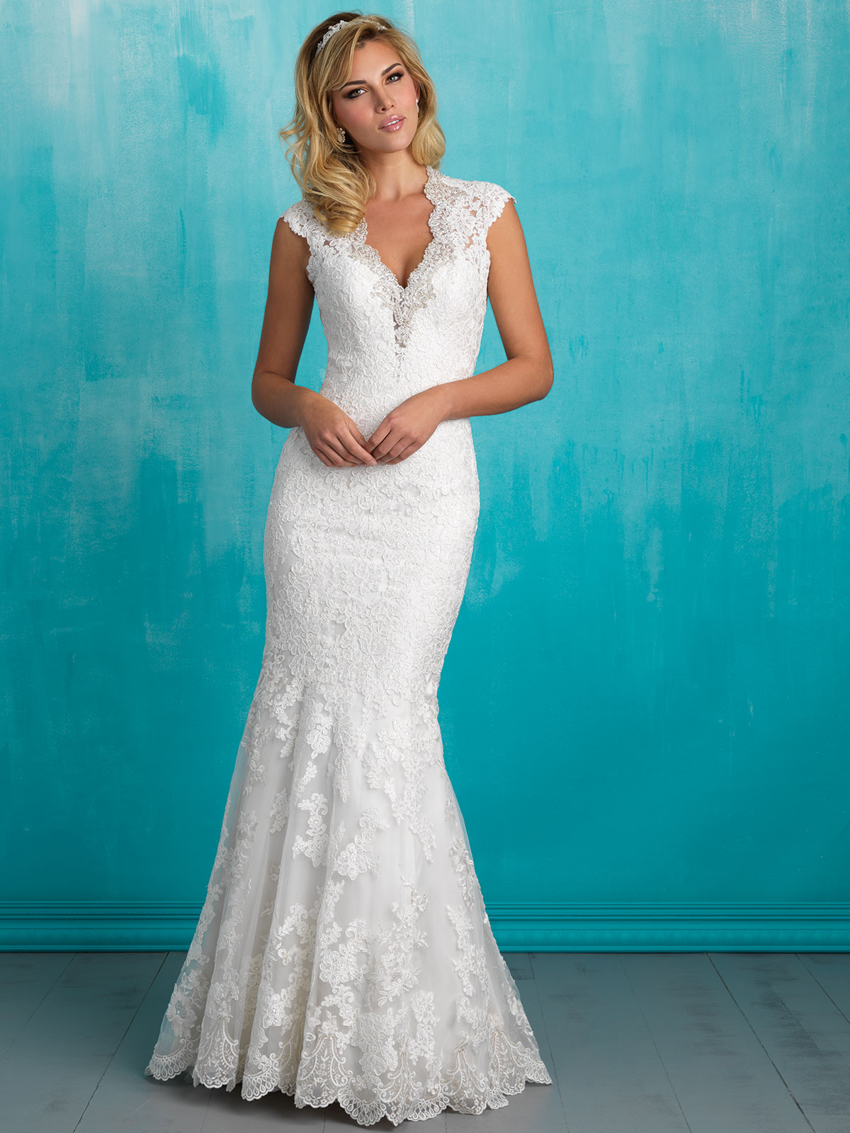 Allure 9318 V-neck Lace Sheath Bridal Dress|DimitraDesigns.com