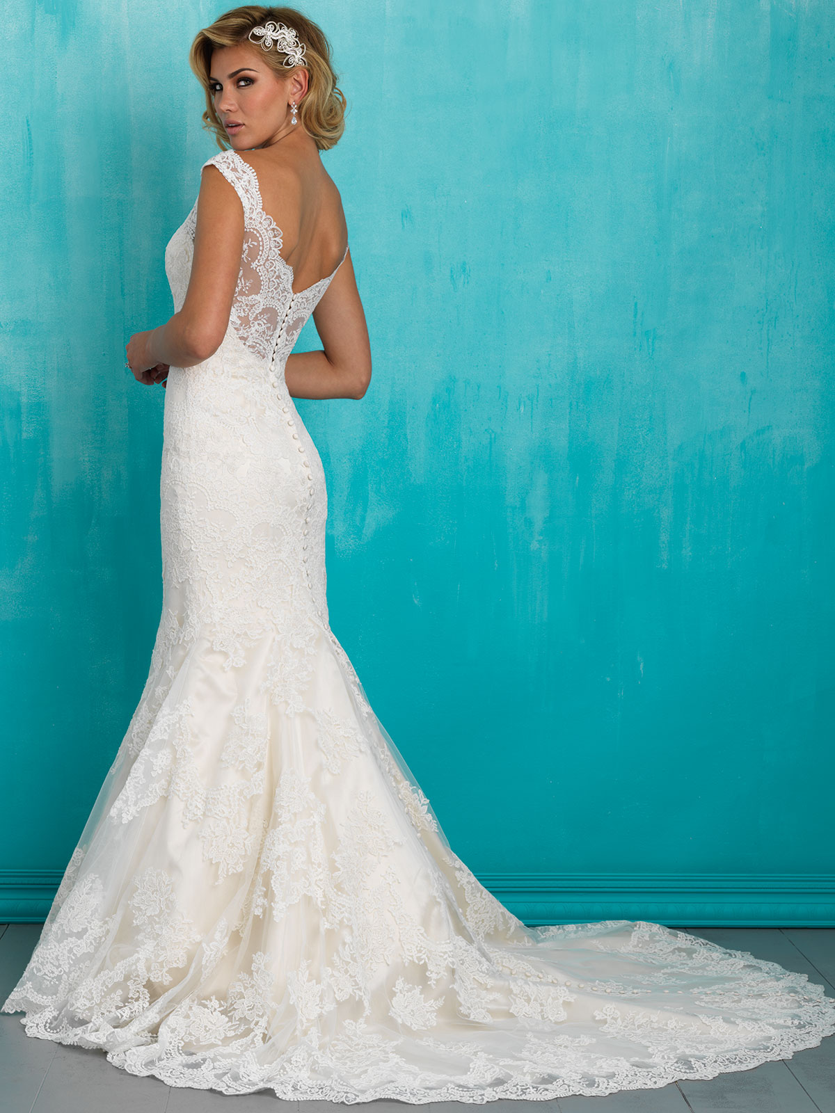 Allure 9322 V-neck Lace Mermaid Bridal Dress|DimitraDesigns.com