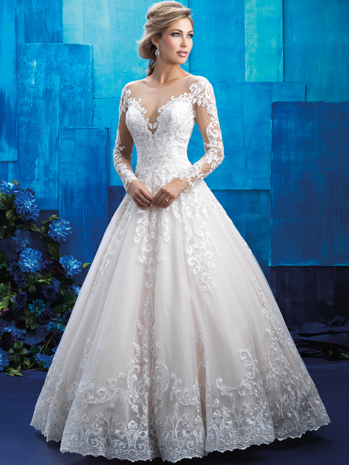 Allure bridals 9411 tulle ball gown wedding dress for Allure long sleeve wedding dress