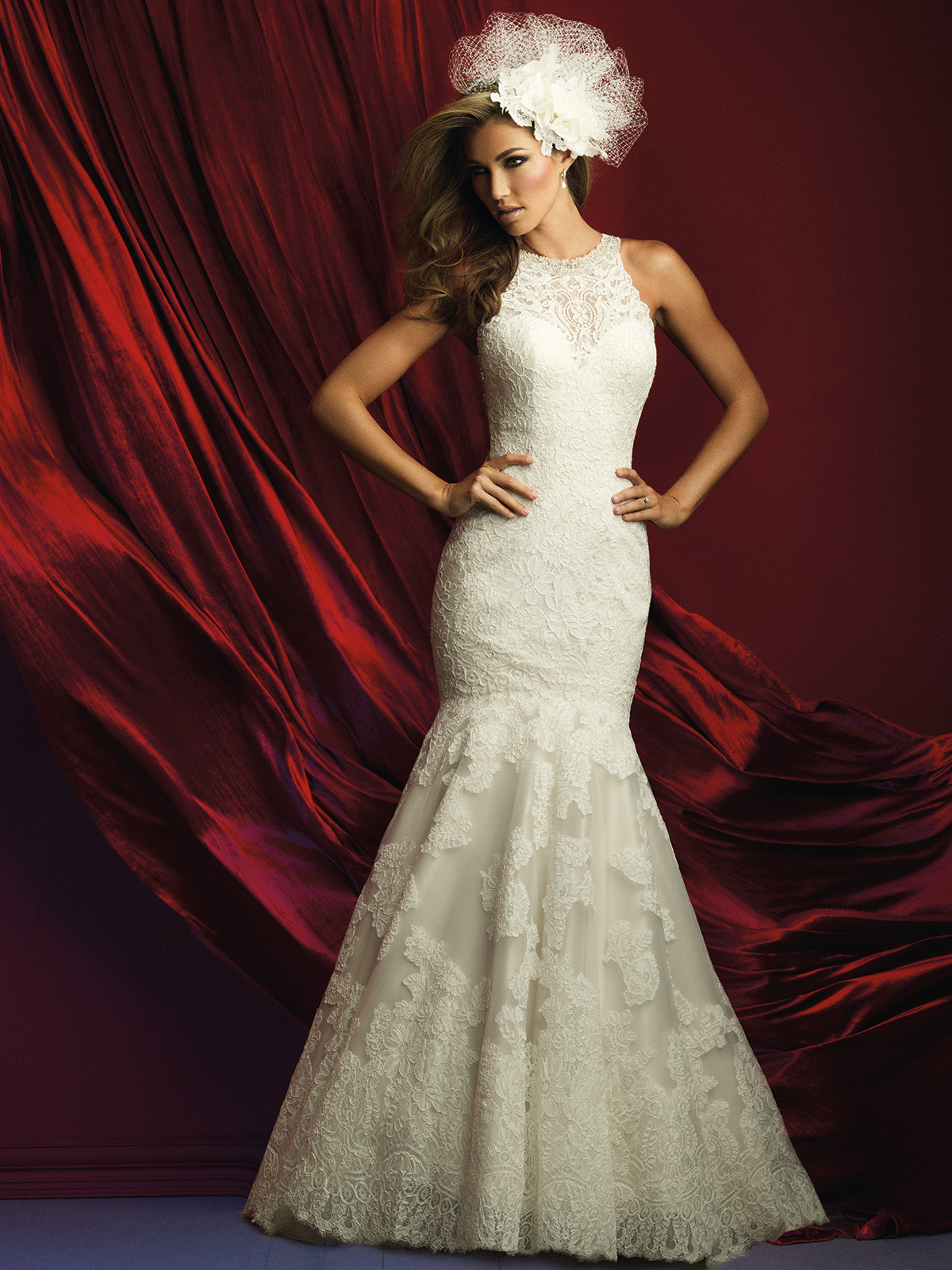 Allure bridals c360 high neck lace mermaid couture dress for High couture wedding dresses