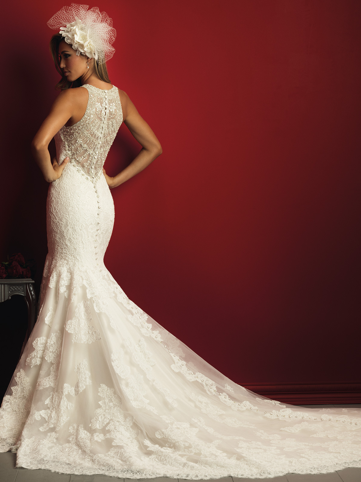 Allure bridals c360 high neck lace mermaid couture dress for High couture dresses