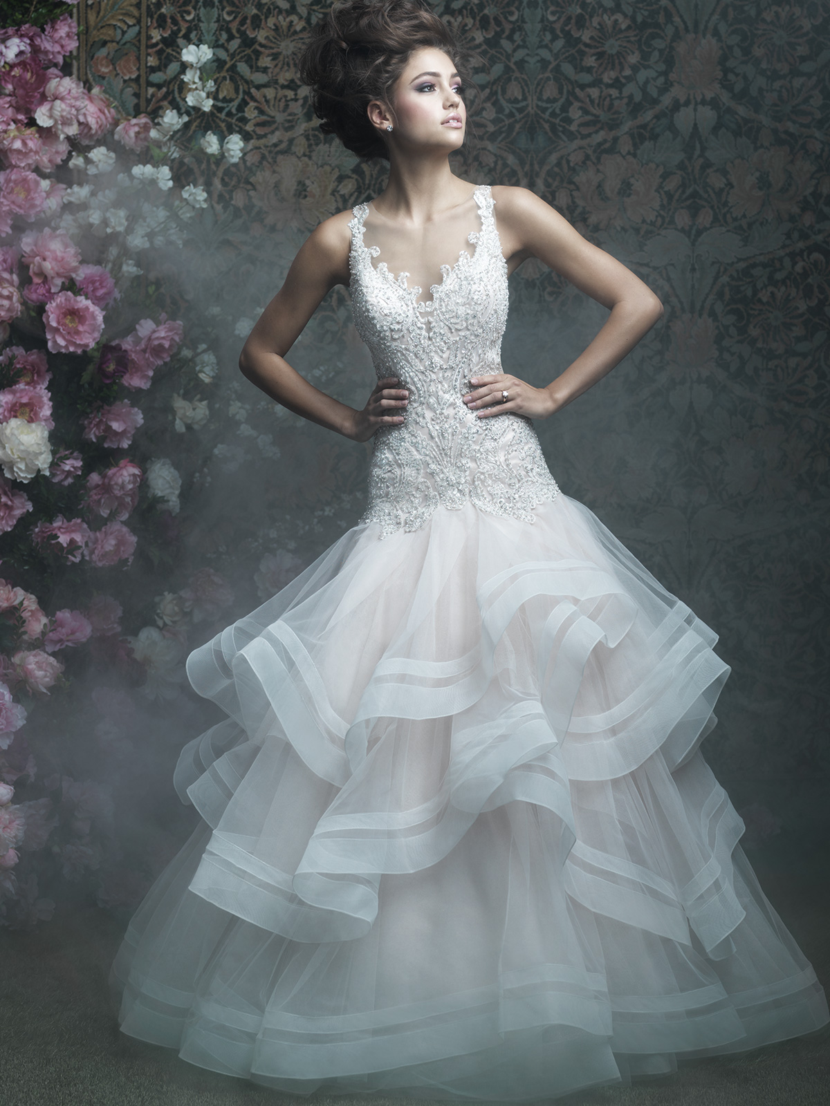 Allure Bridals Couture C405 V-neck Layered A-line Wedding Dress ...
