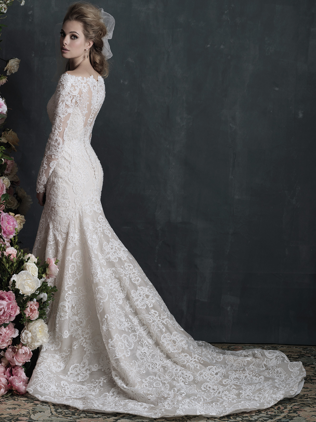 Allure bridals couture c406 long sleeves wedding dress for Allure long sleeve wedding dress