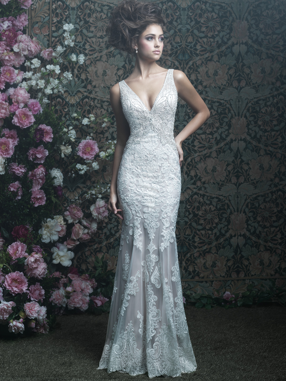 Allure Bridals Couture C408 V-neck Floor Length Wedding Dress ...