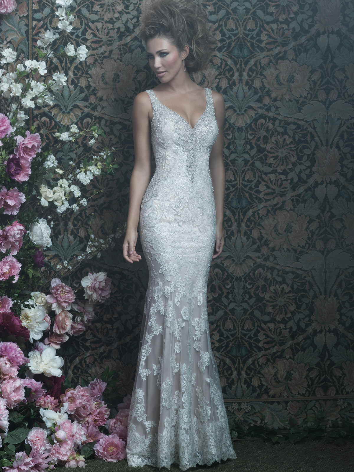 Allure Bridals Couture C412 V-neck Wedding Dress|DimitraDesigns.com