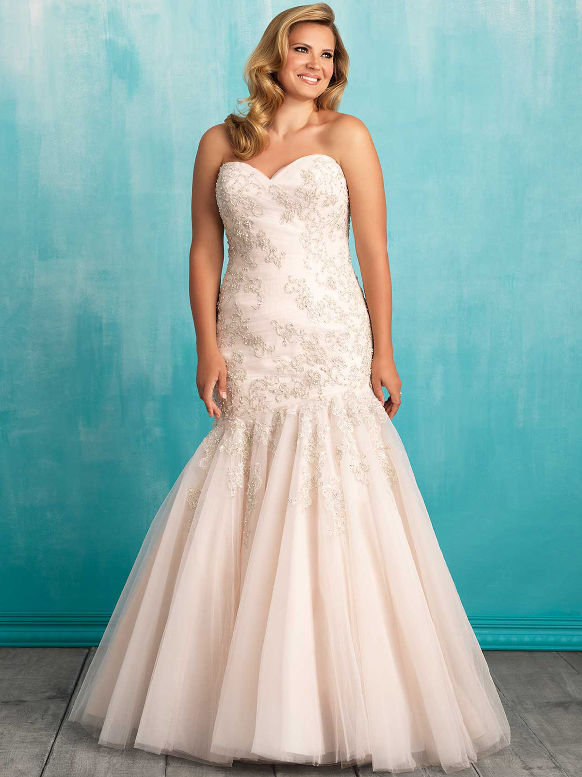 Allure Women W372 Sweetheart Fit And Flare Wedding Dress ...