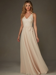 Angelina Faccenda 20472 V-neck Beaded Bridesmaid Dress
