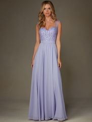 Angelina Faccenda 20473 Cap Sleeves Beaded Bridesmaid Dress