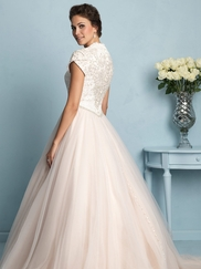 Anne Queen Neckline Allure Modest Wedding Dress M533