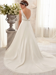 Bateau Neckline Beaded Mori Lee Blu Wedding Dress 5204