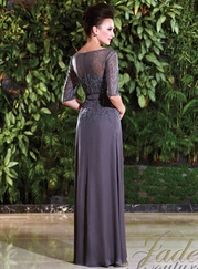 Bateau Neckline Sheer And Lace Mother Of The Bride Dress Jade Couture K168019