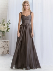 Cap Sleeves Pleated Belsoie Bridesmaids Dress by Jasmine L164055