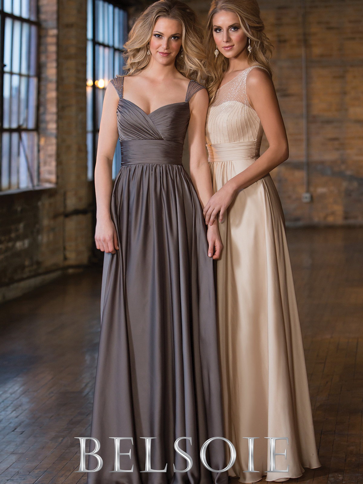 Belsoie bridesmaid dress l164055 dimitradesigns sophisticated satin chiffon floor length bridesmaid dress belsoie l164055 ombrellifo Images