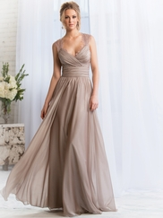 Cap Sleeves Pleated Belsoie Bridesmaids Dress by Jasmine L164057