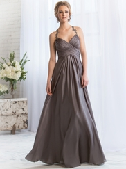 Halter Pleated Belsoie Bridesmaids Dress by Jasmine L164069