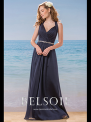 Belsoie L184007 Halter Pleated Bridesmaid Dress