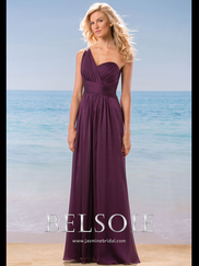 Belsoie L184008 One Shoulder Pleated Bridesmaid Dress