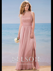 Belsoie L184015 High Neck Lace Bridesmaid Dress