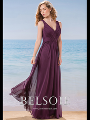 Belsoie L184016 V-neck Pleated Bridesmaid Dress
