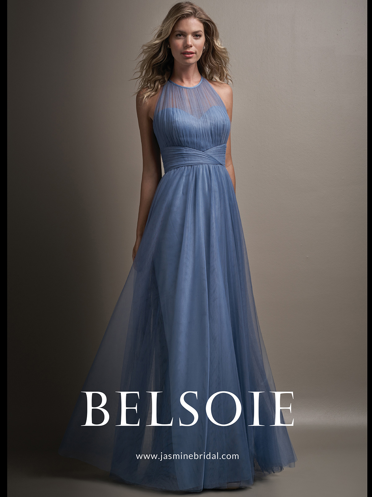 Belsoie l194011 tulle a line bridesmaid dressdimitradesigns belsoie l194011 halter illusion neckline bridesmaid dress ombrellifo Images