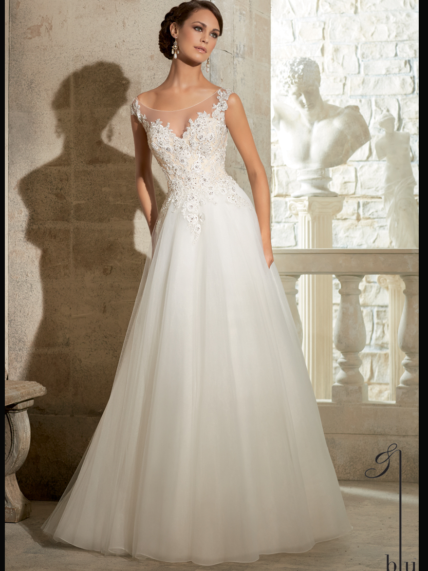 Mori lee blu bridal gown 5317 for Boat neck lace wedding dress