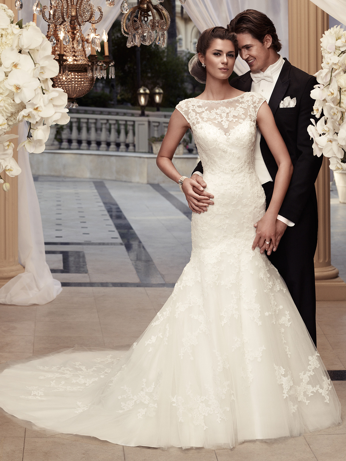 Cap sleeve fit and flare casablanca bridal gown 2110 for Lace fit and flare wedding dress with sleeves