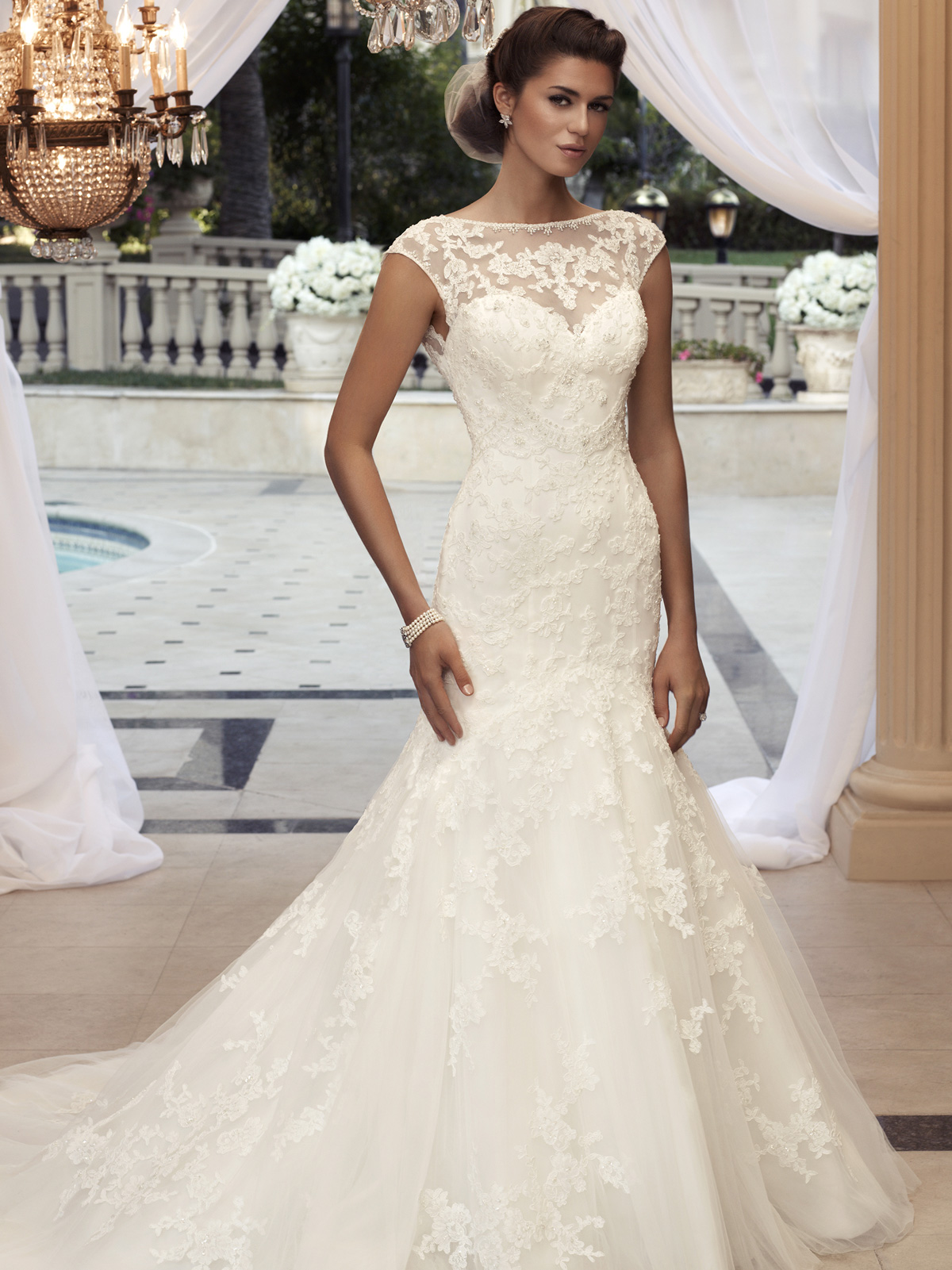 Cap sleeve fit and flare casablanca bridal gown 2110 for Lace sleeve wedding dresses