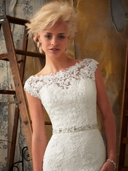 Cap Sleeve Lace Bridal Gown Mori Lee 1901