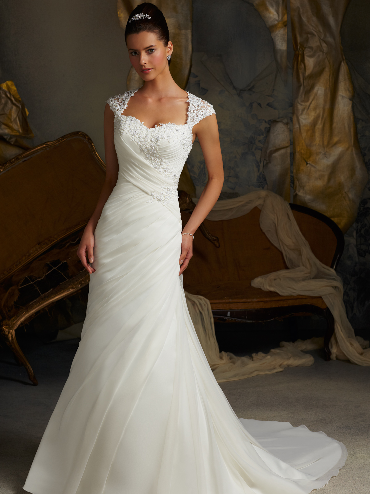 cap sleeve trumpet mori lee blu bridal gown 5103 On wedding dresses with capped sleeves