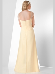 Cap Sleeve Pleated Bridesmaid Dress Bari Jay 877