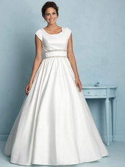 Cap Sleeved Crystal Waist Allure Modest Wedding Dress M535