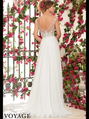 Cap Sleeves Beaded Flowing A-line Mori Lee Voyage Wedding Dress 6797