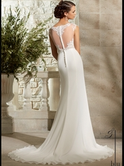 Cap Sleeves Lace And Chiffon A-line Mori Lee Blu Wedding Dress 5301