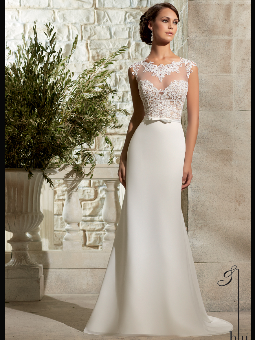 Chiffon wedding dress with lace sleeves for Mori lee discontinued wedding dresses