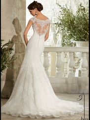Cap Sleeves Lace Fit And Flare Mori Lee Blu Wedding Dress 5310