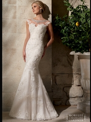 Cap Sleeves Lace Fit And Flare Mori Lee Wedding Dress 2702