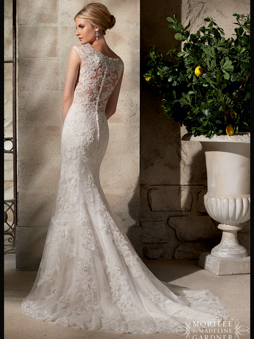 Mori lee bridal gown 2702 dimitradesignscom for Lace fit and flare wedding dress with sleeves