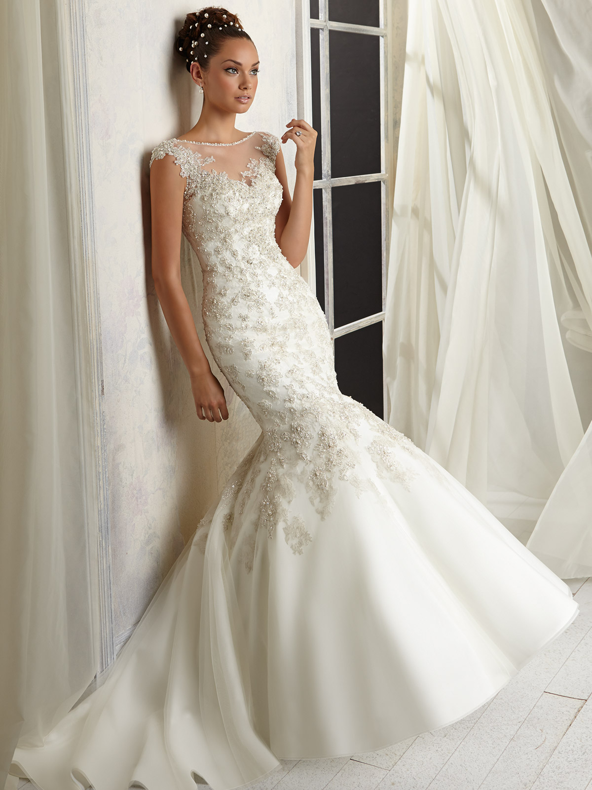 Cap Sleeves Sheer And Beaded Angelina Faccenda Mori Lee Wedding Dress