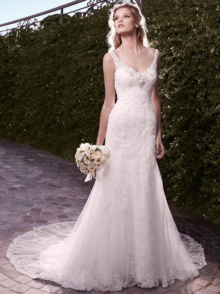 Casablanca 2135 Fit Flare V Neckline Wedding Dress
