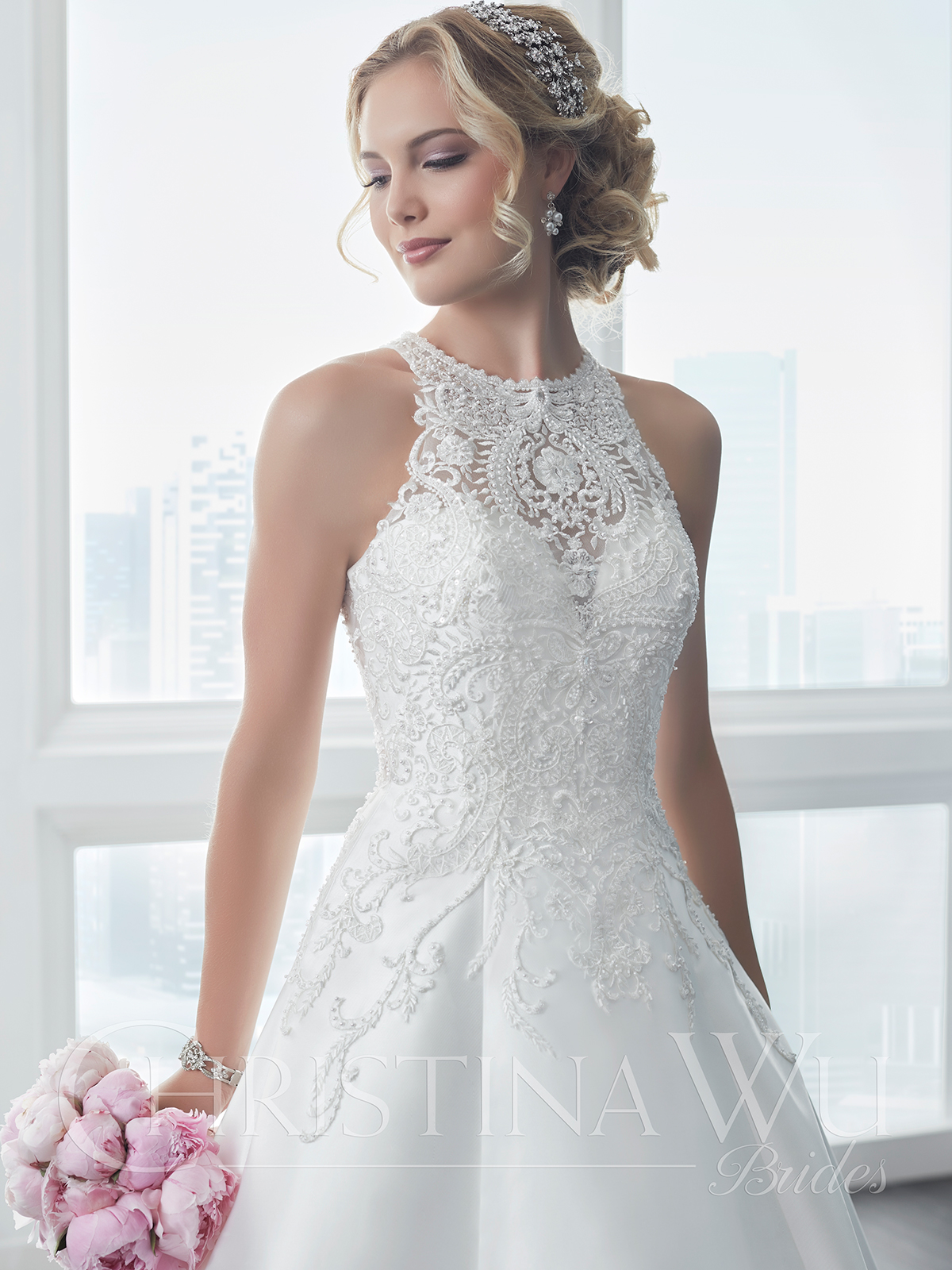 Christina Wu 15630 High Neckline A-line Wedding Dress|DimitraDesigns.com