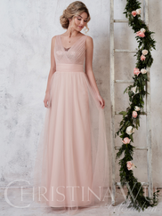 Christina Wu Celebration 22728 V-neck Sequin Bridesmaid Dress