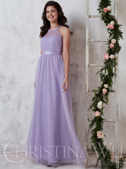 Christina Wu Celebration 22737 Halter Pleated Bridesmaid Dress