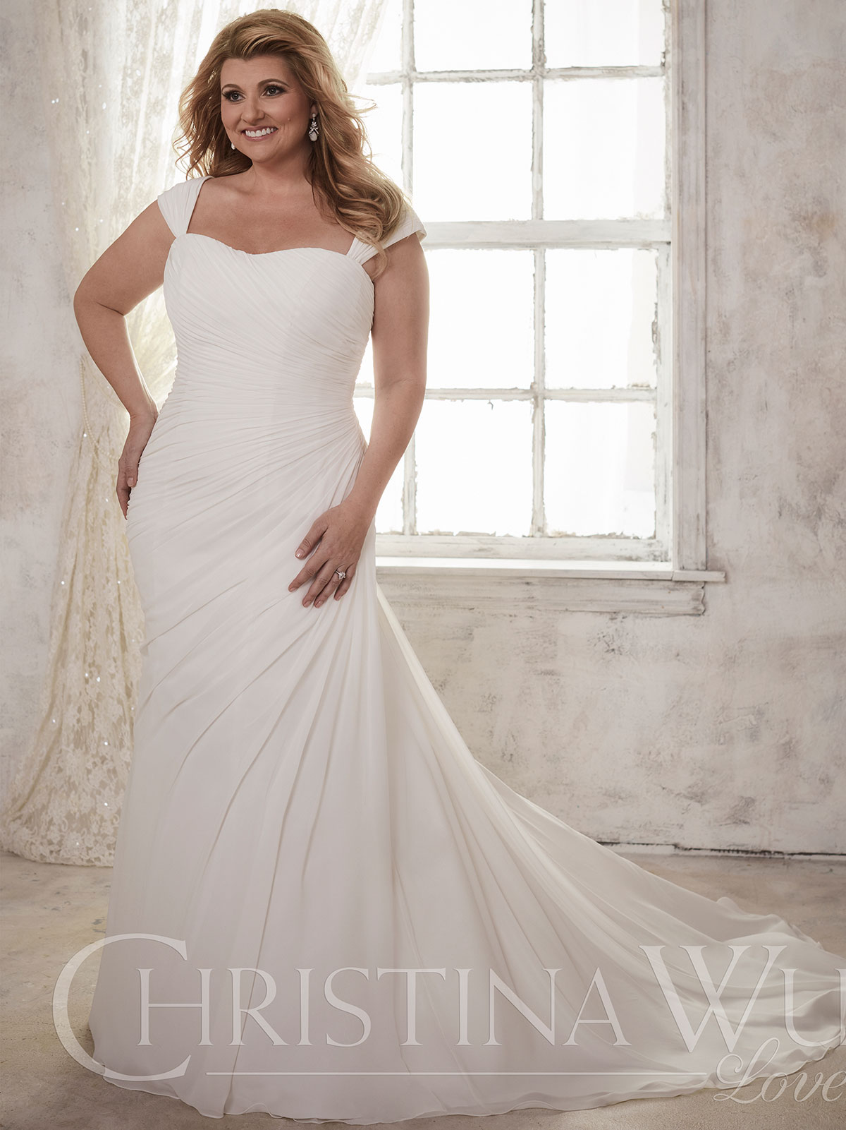Christina Wu Love 29275 Cap Sleeves Chiffon Floor Length Bridal ...