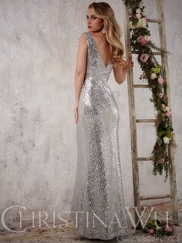 Christina Wu Occasions 22708 Sequined Evening Gown