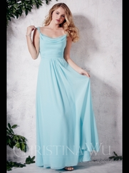 Cowl Neckline Floor Length A-line Christina Wu Occasions Bridesmaid Dress 22655