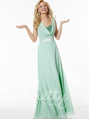 Cowl Neckline Sequin Pretty Maids Bridesmaids Dress 22617