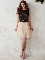 Crew Neck Short Christina Wu Occasions Bridesmaid Dress 22671
