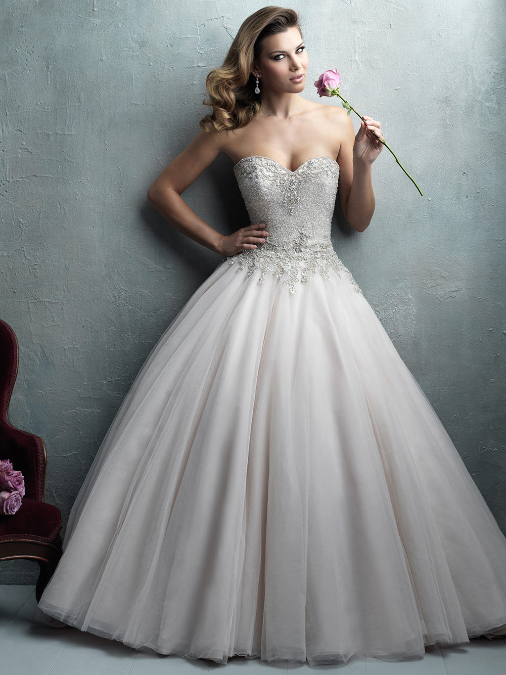 Allure couture strapless tulle skirt wedding dress c323 for Crystal embroidered wedding dress