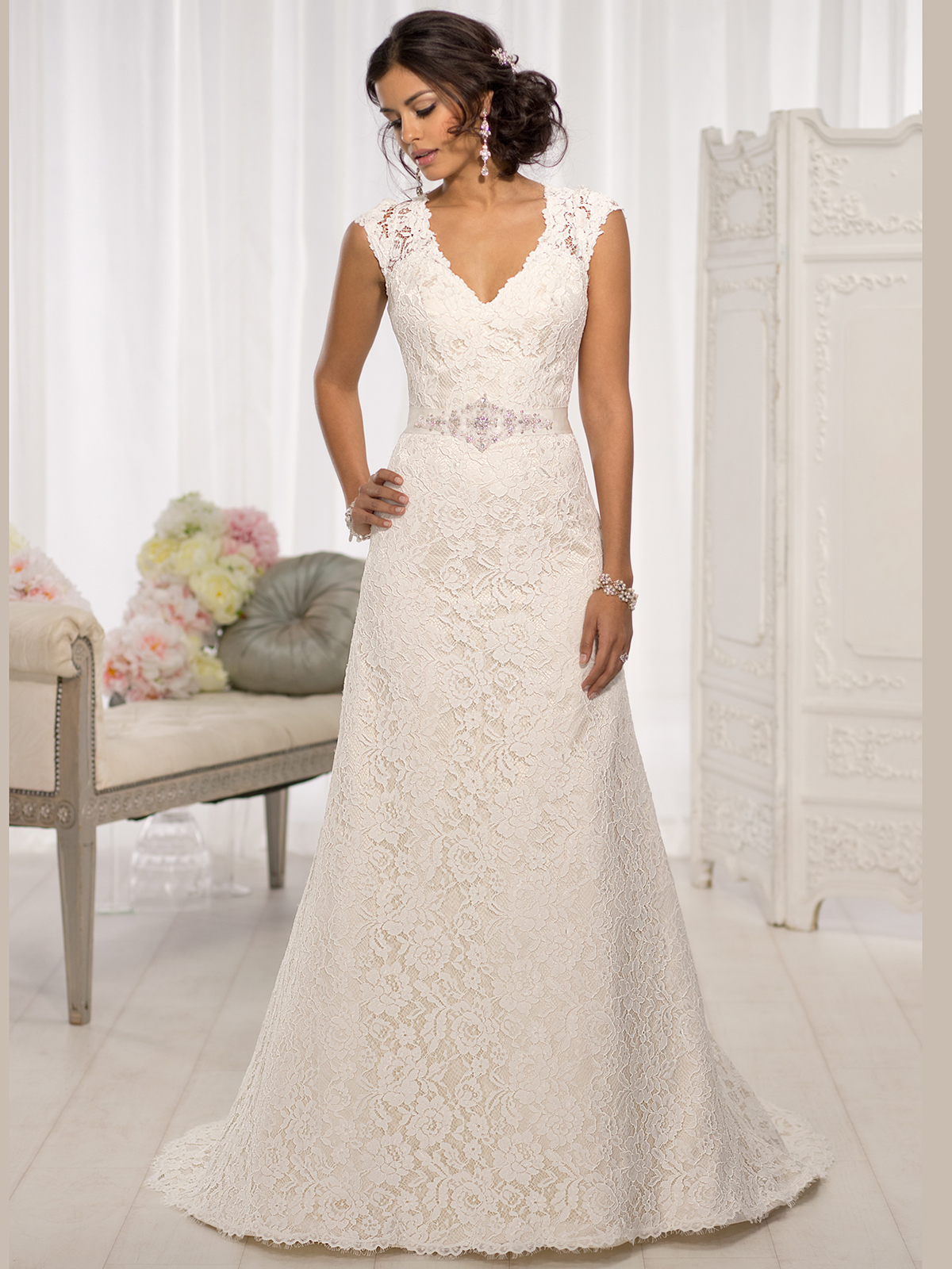 Essense of australia d1598 v neck lace a line bridal dress for V neck wedding dresses australia