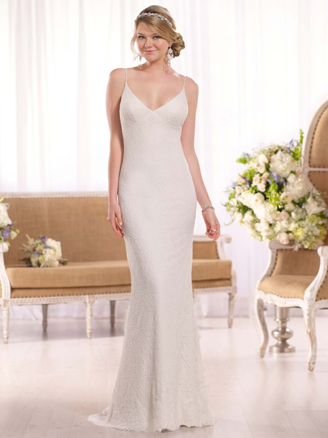 Essense of australia d1981 v neck floor length sheath for V neck wedding dresses australia